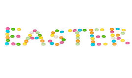 Glückliche Buchstaben Ostern, farbige candys an lokalisiert Lizenzfreies Stockbild
