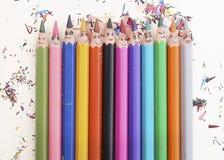 Glückliche bunte Bleistifte Stockbilder