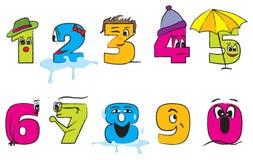 Glückliche bunte Zahlen von null bis neun mit lustigen Gesichtern Stockbild