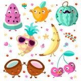 Glückliche cartooning Fruchtvektorillustration Satz tropische kindische Frucht, entspannend und glücklich, lokalisiert auf Weiß Stockfotografie