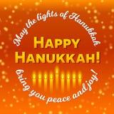 Glückliche Chanukka-Grußkarte, Lichter auf Dunkelheit Goldener bokeh Hintergrund Stockfoto