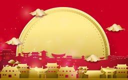 Glückliche chinesische Grüße des neuen Jahres Gold und rotes chinesisches Dorf mit großem Mondhintergrund lizenzfreie abbildung