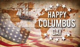 Glückliche Columbus-Tagesfahne, patriotischer Hintergrund Stockfoto