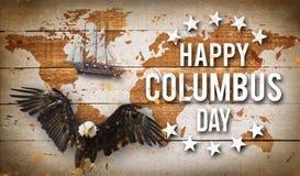 Glückliche Columbus-Tagesfahne, patriotischer Hintergrund Stockbild