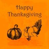 Glückliche Danksagungs-Tagesillustration Kritzeln Sie Hand gezeichneten Truthahn und Kürbis, orange Aquarellhintergrund Stock Abbildung