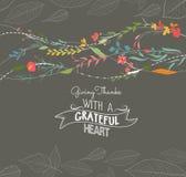 Glückliche Danksagungsgrußkarte floral lizenzfreie abbildung