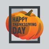 Glückliche Danksagungstageskürbispostkarte Herbstferien Stockfoto