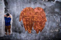 Glückliche Deepavali-Straßenkunst lizenzfreies stockbild
