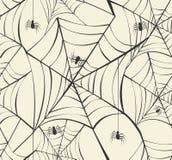 Glückliche des Musterhintergrundes EPS10 der Halloween-Spinnennetze nahtlose FI Lizenzfreie Stockfotografie