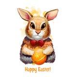 Glückliche digitale Fahne Ostern mit Kaninchen in der Karikaturart mit verziertem Ei Lustiges Häschengruß-Kartendesign adorable Stockfoto