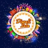 Glückliche Diwali-Urlaubseinkäufeanzeige und Förderungsverkauf bieten an Stockbild