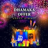 Glückliche Diwali-Urlaubseinkäufeanzeige und Förderungsverkauf bieten an Stockfoto