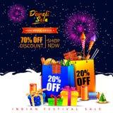 Glückliche Diwali-Urlaubseinkäufeanzeige und Förderungsverkauf bieten an Lizenzfreie Stockbilder