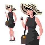 Glückliche elegante Dame mit dem Hut lokalisiert vektor abbildung