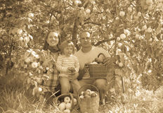 Glückliche Eltern und Kind im Garten Lizenzfreies Stockbild