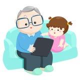 Glückliche Enkelinspieltablette mit großväterlichem Vektor vektor abbildung