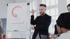 Glückliche erfolgreiche Mitte alterte Motivierungskollegen des Trainergeschäftsmannes im modernen hellen Büro, Zeitlupe ROTES EPO stock video footage