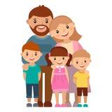 Glückliche fünfköpfige Familie, zusammen aufwerfend Lizenzfreie Stockfotos
