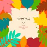 Glückliche Fallschablone mit Herbstlaub und einfachem Text Stockfotografie