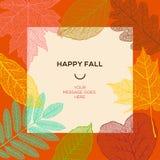 Glückliche Fallschablone mit Herbstlaub und einfachem Text Lizenzfreie Stockfotos
