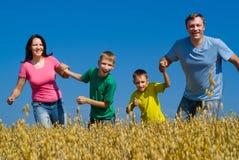 Glückliche Familie auf der Natur Stockfotos