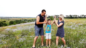 Glückliche Familie auf der Natur stock video footage