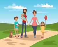 Glückliche Familie auf einem Hintergrund von Naturlandschafts-Vektor Illustration lizenzfreie abbildung