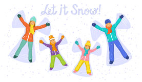 Glückliche Familie auf Schnee-Draufsicht vektor abbildung