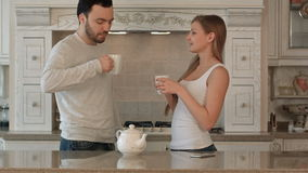 Glückliche Familie in der Küche stock footage