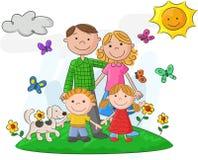 Glückliche Familie der Karikatur gegen eine schöne Landschaft Stockfotos