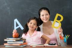 Glückliche Familie der Mutter mit der Tochter, die Englisch studiert lizenzfreie stockfotografie