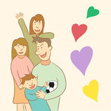 Glückliche Familie in der Vektorillustration Stockfotografie