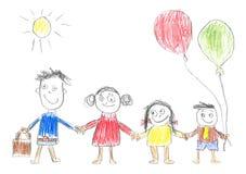 Glückliche Familie der Zeichnung des Kindes Stockbilder