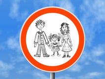 Glückliche Familie des runden Zeichens lizenzfreies stockfoto