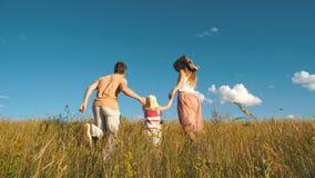 Glückliche Familie, die auf dem Feld läuft stock footage