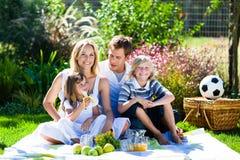 Glückliche Familie, die ein Picknick hat Stockfoto