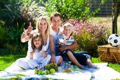 Glückliche Familie, die ein Picknick mit den Daumen oben hat Stockfotografie