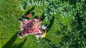 Glückliche Familie, die Picknick im Park, Eltern mit den Kindern sitzen auf Gras und draußen essen gesunde Mahlzeiten, Vogelpersp lizenzfreie stockbilder
