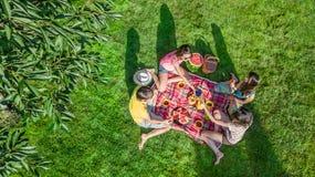 Glückliche Familie, die Picknick im Park, Eltern mit den Kindern sitzen auf Gras und draußen essen gesunde Mahlzeiten, Vogelpersp stockfoto