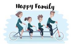 Glückliche Familie, die Tandemfahrrad fährt Auch im corel abgehobenen Betrag Lizenzfreies Stockfoto