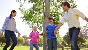 Glückliche Familie, die zusammen auf das Gras tanzt stock video