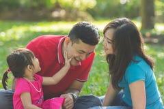 Glückliche Familie, die zusammen in einem Park spielt lizenzfreies stockbild
