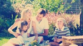 Glückliche Familie, die zusammen in einem Picknick spielt Stockfoto
