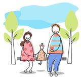 Glückliche Familie erzieht das Kind, das auf Bank-Park sitzt stock abbildung