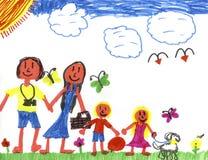 Glückliche Familie in Happyland Stockfotografie