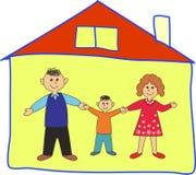 Glückliche Familie im Haus. lizenzfreie abbildung