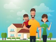Glückliche Familie im Hintergrund seines Hauses Vater, Mutter und Tochter zusammen draußen Vektorillustrationen in lizenzfreie abbildung