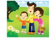 Glückliche Familie im Park lizenzfreie abbildung