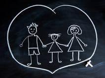 Glückliche Familie, Kind-` s Zeichnung mit Kreide Stockfotografie