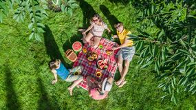 Glückliche Familie mit den Kindern, die Picknick im Park, Eltern mit den Kindern sitzen auf Gartengras und draußen essen gesunde  stockfoto